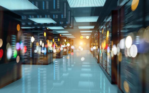 Dark servers data center room with bright bokeh light going through the corridor 3D rendering